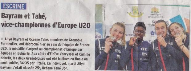 Bayram tahé Vice championne d'Europe 10 mars 17