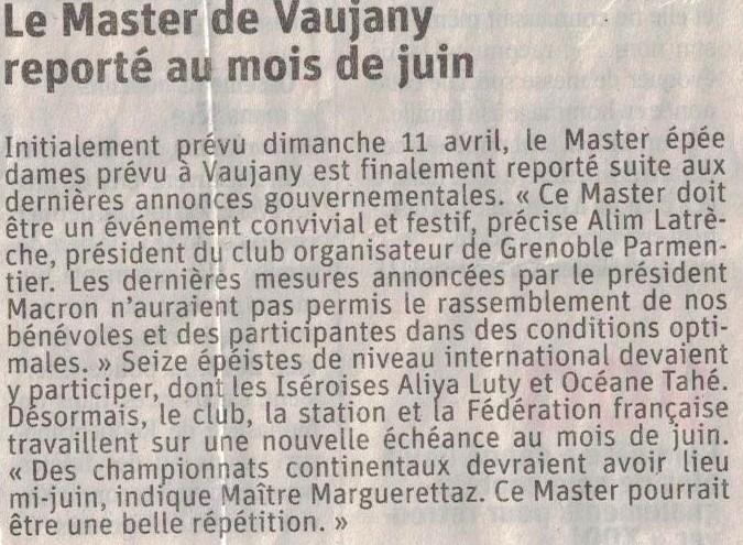 Article issu du journal Le Dauphiné Libéré en date du 2 avril 2021.
