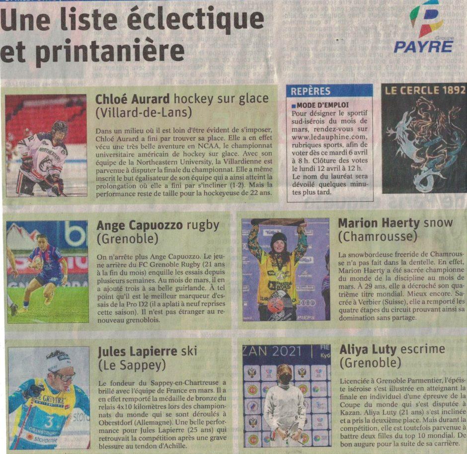 Article issu du journal Le Dauphiné Libéré du 5 avril 2021 nominant Aliya Luty pour le titre de sportif.ve du mois.