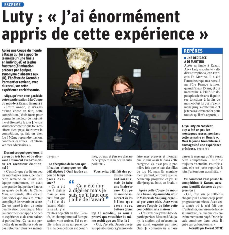 Aliya Luty a énormément appris via le Dauphiné Libéré escrime grenoble