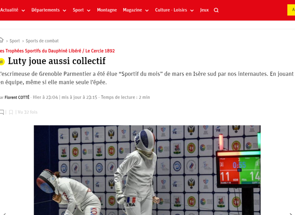 Aliya Luty, sportive du mois de mars 2021 par le Dauphiné Libéré